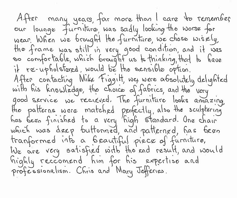 Figgitt Upholstery & Interiors Testimonial